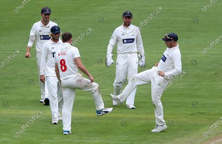 Stock Picture of Graham Wagg of Glamorgan celebrates with Tom Cullen after George Hankins is caught.
