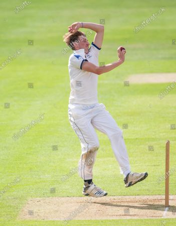 Yorkshire's George Hill bowls on his debut for the first team.