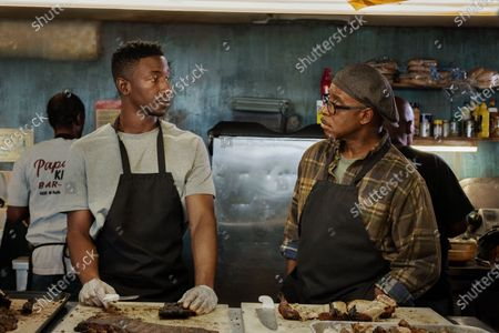 Mamoudou Athie as Elijah and Courtney B Vance as Louis