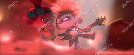 Stock Image of Poppy (Anna Kendrick) and Queen Barb (Rachel Bloom)