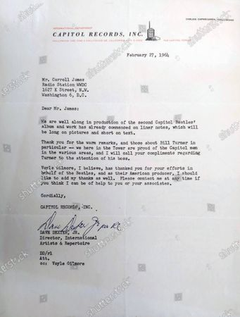 A letter sent to DJ Carroll James from Dave Dexter Jr of Capitol Records thanking him for helping to make the Beatles famous in America.  A letter from George Harrison's sister thanking the DJ who 'broke' The Beatles in America has sold for £14,000.   Louise Harrison Caldwell praised provincial radio presenter Carroll James for having the 'wisdom and initiative' to play The Beatles' single 'I Want to Hold Your Hand' in November 1963.  James had played it at the request of 15-year-old listen Marsha Albert who had written to him asking after the 'new band from England'.  His airing of the record prompted a surge of interest which led to John, Paul, George and Ringo visiting America weeks later and appearing on the Ed Sullivan TV show.