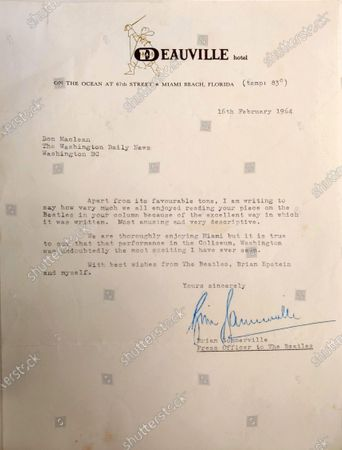 Stock Picture of A letter sent from Brian Sommerville, Press Officer to The Beatles, to Don Maclean of the Washington Daily News.   A letter from George Harrison's sister thanking the DJ who 'broke' The Beatles in America has sold for £14,000.   Louise Harrison Caldwell praised provincial radio presenter Carroll James for having the 'wisdom and initiative' to play The Beatles' single 'I Want to Hold Your Hand' in November 1963.  James had played it at the request of 15-year-old listen Marsha Albert who had written to him asking after the 'new band from England'.  His airing of the record prompted a surge of interest which led to John, Paul, George and Ringo visiting America weeks later and appearing on the Ed Sullivan TV show.