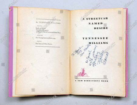 Editorial photo of 'A Streetcar Named Desire' signed first edition book - 13 Jul 2020
