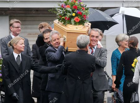 The father of actor James Nesbitt and Coleraine FC supporter passed away last week aged 91. TV and film star James Nesbitt carrying his father's coffin after prayers outside the family home.