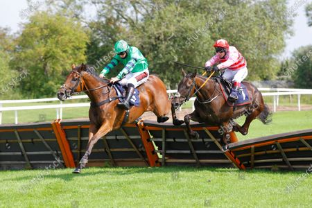 Check My Pulse and Henry Brooke [left] wins the attheraces.com Novices' Hurdle at Uttoxeter from Sangha River and Richard Johnson.