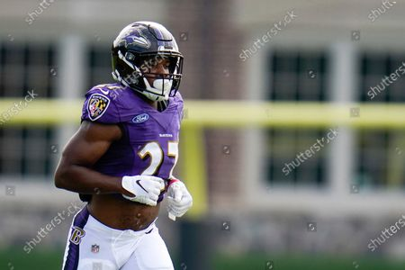 Baltimore Ravens 2020 second round draft selection, running back J.K. Dobbins, works out during an NFL football camp practice, in Owings Mills, Md