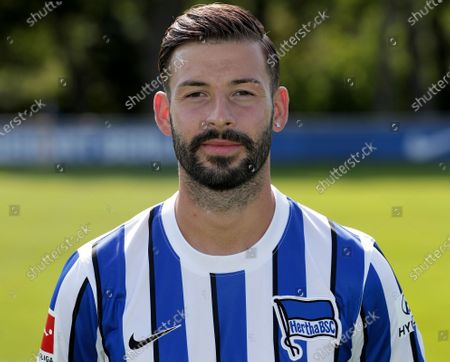 Hertha's Marvin Plattenhardt poses for a photo during the 2020/21 team presentation of the German first division, Bundesliga, soccer team of Hertha BSC Berlin in Berlin, Germany