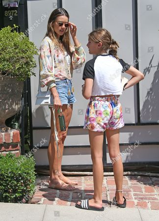 Alessandra Ambrosio is seen getting out of her car with daughter, Anja Louise Mazur