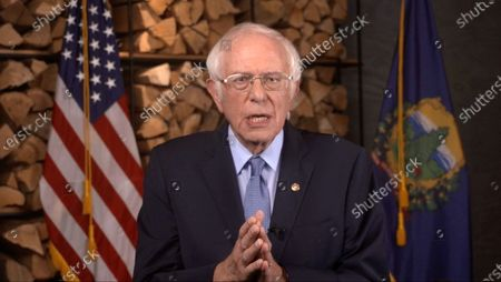 In this image from the Democratic National Convention video feed, United States Senator Bernie Sanders (Independent of Vermont) makes remarks on the first night of the convention.