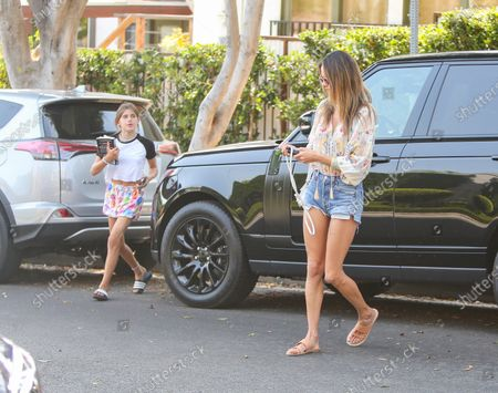 Alessandra Ambrosio is seen with daughter, Anja Louise Mazur