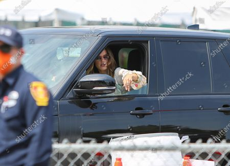 Stock Image of Alessandra Ambrosio is seen driving her car