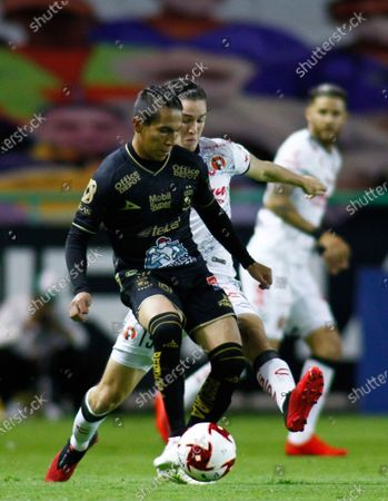 Stock Photo of Jose Rodriguez (front) of Leon in action against Marcel Ruiz (back) of Tijuana, during the 2020 Guardians of Mexico soccer tournament between Leon and Tijuana in Leon, Guanajuato, Mexico, 17 August 2020.