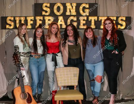 Singers & songwriters Mia Morris, Kasey Tyndall, Kalie Shorr, Ashley McBryde, Mia Mantia and Caylee Hammack are seen onstage at The Listening Room Cafe on August 17, 2020 in Nashville, Tennessee. Song Suffragettes is a weekly female only singer/songwriter showcase.