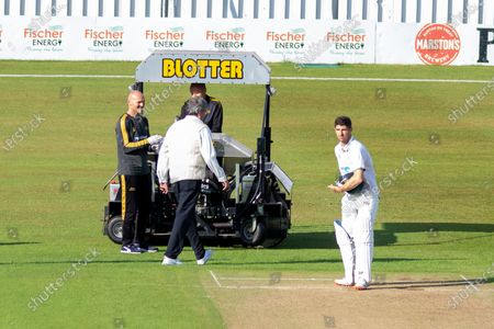 Colin Ackemann is keen to restart during the Bob Willis Trophy match between Leicestershire County Cricket Club and Durham County Cricket Club at the Fischer County Ground, Grace Road, Leicester