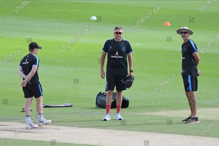 Ben Brown, Mitchell Claydon and Coach Jason Gillespie of Sussex prior to Day 4 of the Bob Willis Trophy match between Sussex County Cricket Club and Essex County Cricket Club at the 1st Central County Ground, Hove