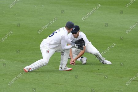 Wicket - Phil Salt catches Sir Alistair Cook off the bowling of George Garton for 26 during the Bob Willis Trophy match between Sussex County Cricket Club and Essex County Cricket Club at the 1st Central County Ground, Hove