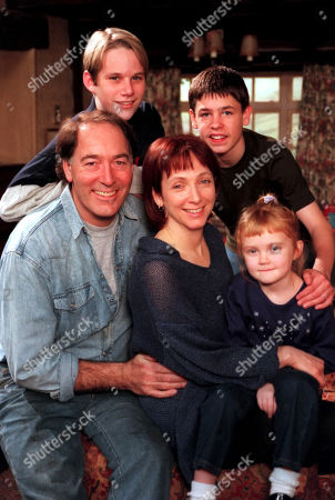 Emmerdale - 2000  The Sugden Family - Jack, as played by Clive Hornby, Sarah Sugden, as played by Alyson Spiro, with Robert Sugden, as played by Christopher Smith ; Andy Hopwood, as played by Kelvin Fletcher ; and Victoria Sugden, as played by Hannah Midgley.