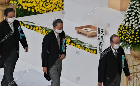 Stock Photo of (L-R)Japan's Former Prime Minister Yoshihiko Noda, Yukio Hatoyama and Yasuo Fukuda offer flowers during the memorial service for the war dead of World War II marking the 75th anniversary in Tokyo, Japan.