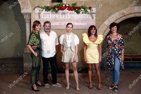 Iciar Bollain (R), and cast members (from left) Nathalie Poza, Sergi Lopez, Paula Usero and Candela Pena pose for the photographers during the presentation of their film 'Rosa's Wedding' in Madrid, Spain, 18 August 2020. The film opens in Spanish cinemas on 21 August 2020.