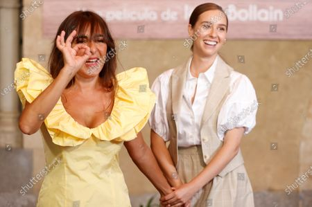 Spanish actresses and cast members Paula Usero (R) and Candela Pena pose for the photographers during the presentation of their film 'Rosa's Wedding' in Madrid, Spain, 18 August 2020. The film opens in Spanish cinemas on 21 August 2020.