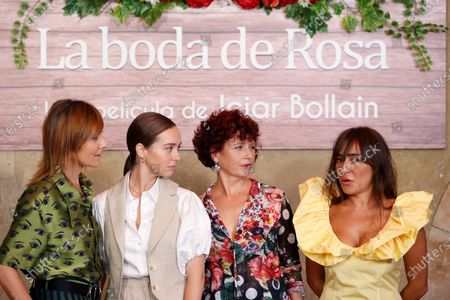 Iciar Bollain (2-R), and cast members (from left) Nathalie Poza, Paula Usero and Candela Pena chat as they pose for the photographers during the presentation of their film 'Rosa's Wedding' in Madrid, Spain, 18 August 2020. The film opens in Spanish cinemas on 21 August 2020.