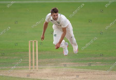Stock Image of Tom Barber bowling for Nottinghamshire