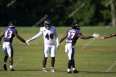 Baltimore Ravens running back Justice Hill (43), 2020 first round draft pick linebacker Patrick Queen (48), and second round pick running back J.K. Dobbins (27) tap hands with teammates at the end of a drill the during an NFL football camp practice, in Owings Mills, Md