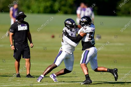 Baltimore Ravens 2020 first round draft selection linebacker Patrick Queen, center, works out with linebacker L.J. Fort during an NFL football camp practice, in Owings Mills, Md