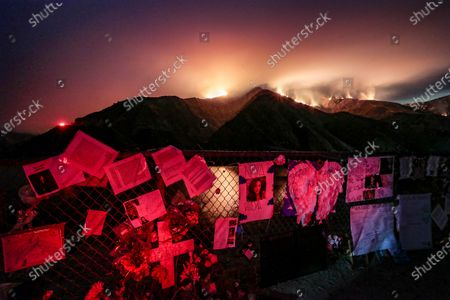 Stock Picture of Piru, CA, Monday, August 17, 2020 - The Holser Fire burns through the night just East of Lake Piru, more than a month after actor Naya Rivera drowned while boating with her son. (Robert Gauthier / Los Angeles Times)