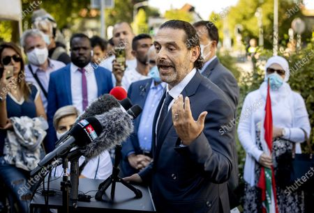 Saad Al Hariri speaks to the press after leaving the Lebanon Tribunal after the ruling on the assassination of ex-Prime Minister Rafik Al Hariri of Lebanon in Leidschendam, The Netherlands, 18 August 2020
