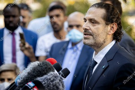 Saad Hariri speaks to the press after leaving the Lebanon Tribunal after the ruling on the assassination of ex-Prime Minister Rafik Al Hariri of Lebanon in Leidschendam, The Netherlands, 18 August 2020.