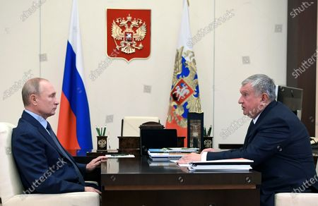 Russian President Vladimir Putin (L) meets with Igor Sechin Chief Executive of Rosneft at Novo-Ogaryovo state residence, outside Moscow, Russia, 18 August 2020.