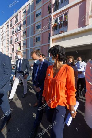 Sebastien Lecornu, Minister of Overseas France, meets residents of social housing in Saint-Denis in the company of the mayor Ericka Bareigts.