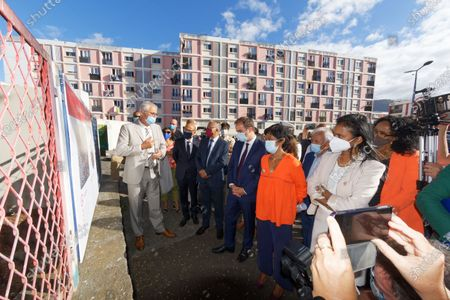 Stock Picture of Sebastien Lecornu, Minister of Overseas France, meets residents of social housing in Saint-Denis in the company of the mayor Ericka Bareigts.