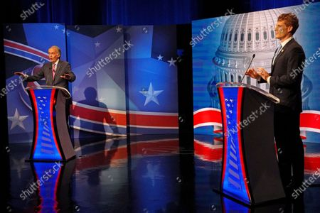 Sen. Edward Markey, left, D-Mass., debates challenger Rep. Joseph P. Kennedy III, D-Mass., in the final debate leading up to the Democratic primary, in Needham, Mass