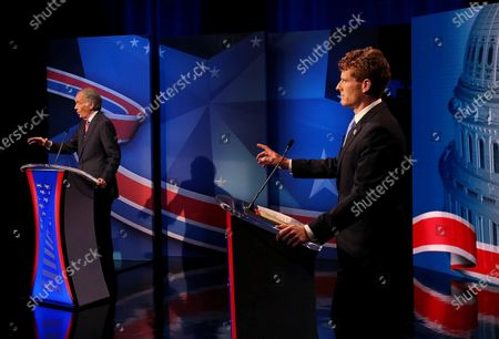 Sen. Edward Markey, left, and Rep. Joseph P. Kennedy III, both D-Mass., take part in the final debate leading up to the Democratic primary for Senate, Needham, Mass