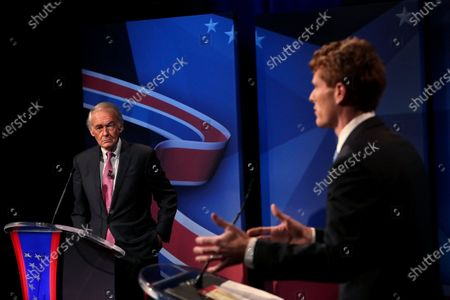 Sen. Edward Markey, left, and Rep. Joseph P. Kennedy III, both D-Mass., take part in the final debate before the Democratic primary, in Needham, Mass