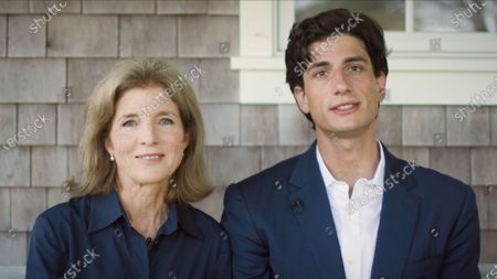 In this image from the Democratic National Convention video feed, Caroline Kennedy, former United States Ambassador to Japan and daughter of US President John F. Kennedy, left, and her son, Jack Schlossberg, grandson of President Kennedy, right, make remarks on the second night of the convention.