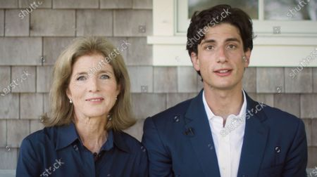 Stock Photo of In this image from the Democratic National Convention video feed, Caroline Kennedy, former United States Ambassador to Japan and daughter of US President John F. Kennedy, left, and her son, Jack Schlossberg, grandson of President Kennedy, right, make remarks on the second night of the convention.