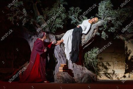 Stock Photo of Belen Rueda (R) and Maria Galiana perform during the dress rehearsal of the play 'Penelope' as part of the 66th International Classic Theater Festival at Roman Theater in the city of Merida, western Spain, late 18 August 2020 (issued 19 August 2020). The play runs from 19 to 24 August.