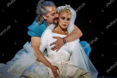 Belen Rueda (R) and actor Jesus Noguero take part in the dress rehearsal of the play 'Penelope' as part of the 66th International Classic Theater Festival at Roman Theater in the city of Merida, western Spain, late 18 August 2020 (issued 19 August 2020). The play runs from 19 to 24 August.