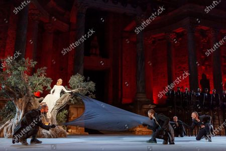 Stock Picture of Belen Rueda (2-L) and other members of the company perform during the dress rehearsal of the play 'Penelope' as part of the 66th International Classic Theater Festival at Roman Theater in the city of Merida, western Spain, late 18 August 2020 (issued 19 August 2020). The play runs from 19 to 24 August.