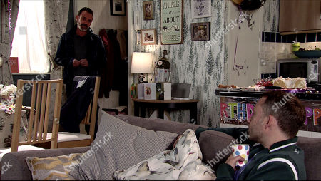 Coronation Street - Ep 10106 Wednesday 26th August 2020 Billy Mayhew, as played by Daniel Brocklebank, returns home and apologises to Paul Foreman, as played by Peter Ash, for missing his party. He assures Paul that he has no interest in Todd, but was simply supporting his friend Sean.