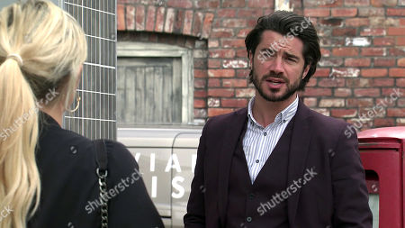 Stock Image of Coronation Street - Ep 10110 Friday 4th September 2020 Daniel and Nicky have made a pact to just be friends, marking a change in their relationship. He promises Adam that there's now nothing to worry about, but Adam clearly thinks otherwise as he offers Nicky money to stay away from Daniel from now on. With Nicky, as played by Kimberley Hart-Simpson; Adam Barlow, as played by Sam Robertson.