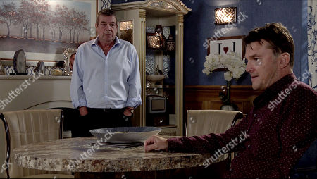 Coronation Street - Ep 10107 Friday 28th August 2020 Scott, as played by Tom Roberts, tells Johnny Connor, as played by Richard Hawley, it is about time they had a proper chat, Johnny leads him into the backroom of the Rovers with trepidation.