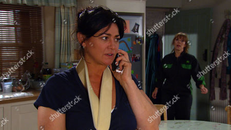 Emmerdale - Ep 8830 Wednesday 2nd September 2020 Moira is surprised by a call from the police, who have found a new witness in her hit and run case. With Moira Dingle, as played by Natalie J Robb ; Rhona Goskirk, as played by Zoe Henry.
