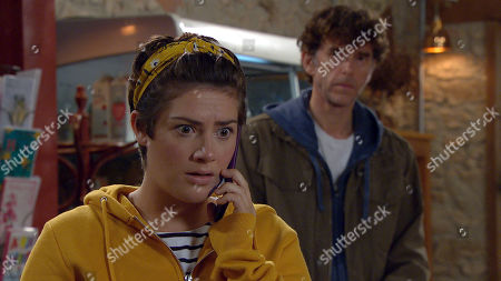 Emmerdale - Ep 8828 Friday 28th August 2020 Victoria Sugden, as played by Isabel Hodgins, gets news that Annie's died, Marlon Dingle, as played by Mark Charnock, feels awful for her.