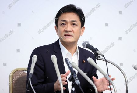 Stock Picture of Japan's opposition Democratic Party for the People leader Yuichiro Tamaki speaks before press after the party's lawmakers meeting in Tokyo on Wednesday, August 19, 2020. Democratic Party for the People decided to merge  with another opposition Constitutional Democratic Party of Japan but Tamaki will not join the new party.