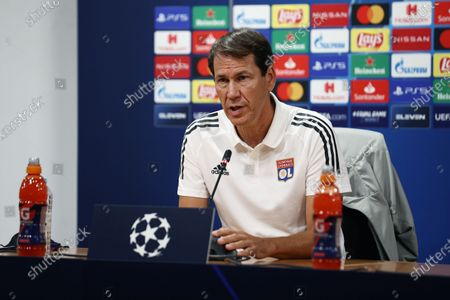 Rudi Garcia, Head Coach of of Olympique Lyon speaks to the media during a press conference ahead of their UEFA Champions League Semi Final match against Bayern Munich at Estadio do Sport Lisboa e Benfica