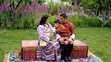 Stock Picture of Bhutan Royal Family of Bhutan: His Majesty King Jigme Khesar Namgyel Wangchuck, Her Majesty Queen Jetsun Pema Wangchuck, His Royal Highness Gyalsey Jigme Namgyel (Born 5 Feb 2016) and His Royal Highness the Gyalsey (born 19 March 2020)